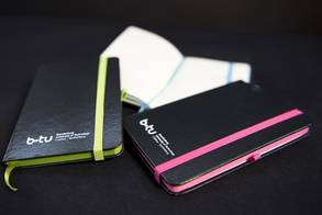 Black Notebook with BTU logo and coloured binding