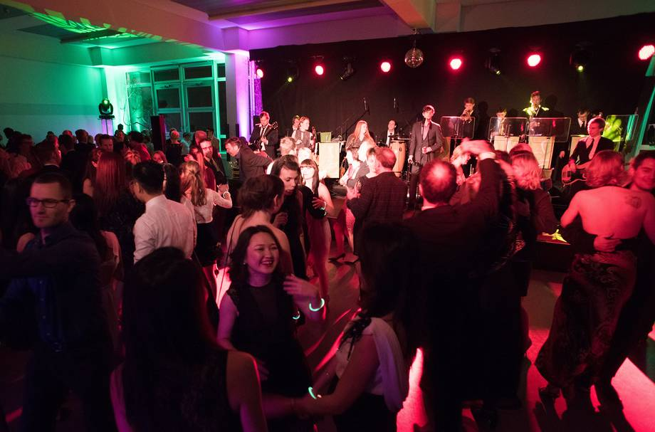 visitors of the BTU Ball 2017 dance to the band's music