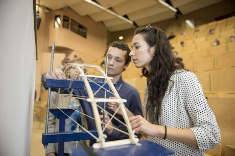 students build a bridge out of 250 ice cream sticks, 20 metres string and wood adhesive in the bridge building competition