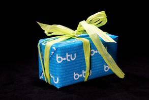 Blue Gift wrap paper with white BTU logo