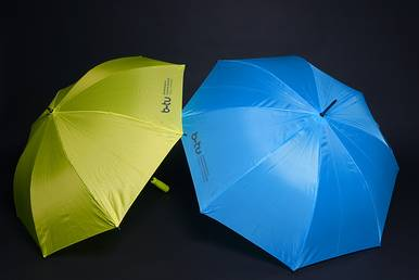 Umbrella in two colours with BTU logo