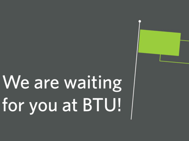 Endscreen des Videos zum Welcome and Registration Point. Eingeblendeter Titel: We are waiting for you at BTU!