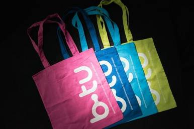 Cotton bag in four colours with BTU logo
