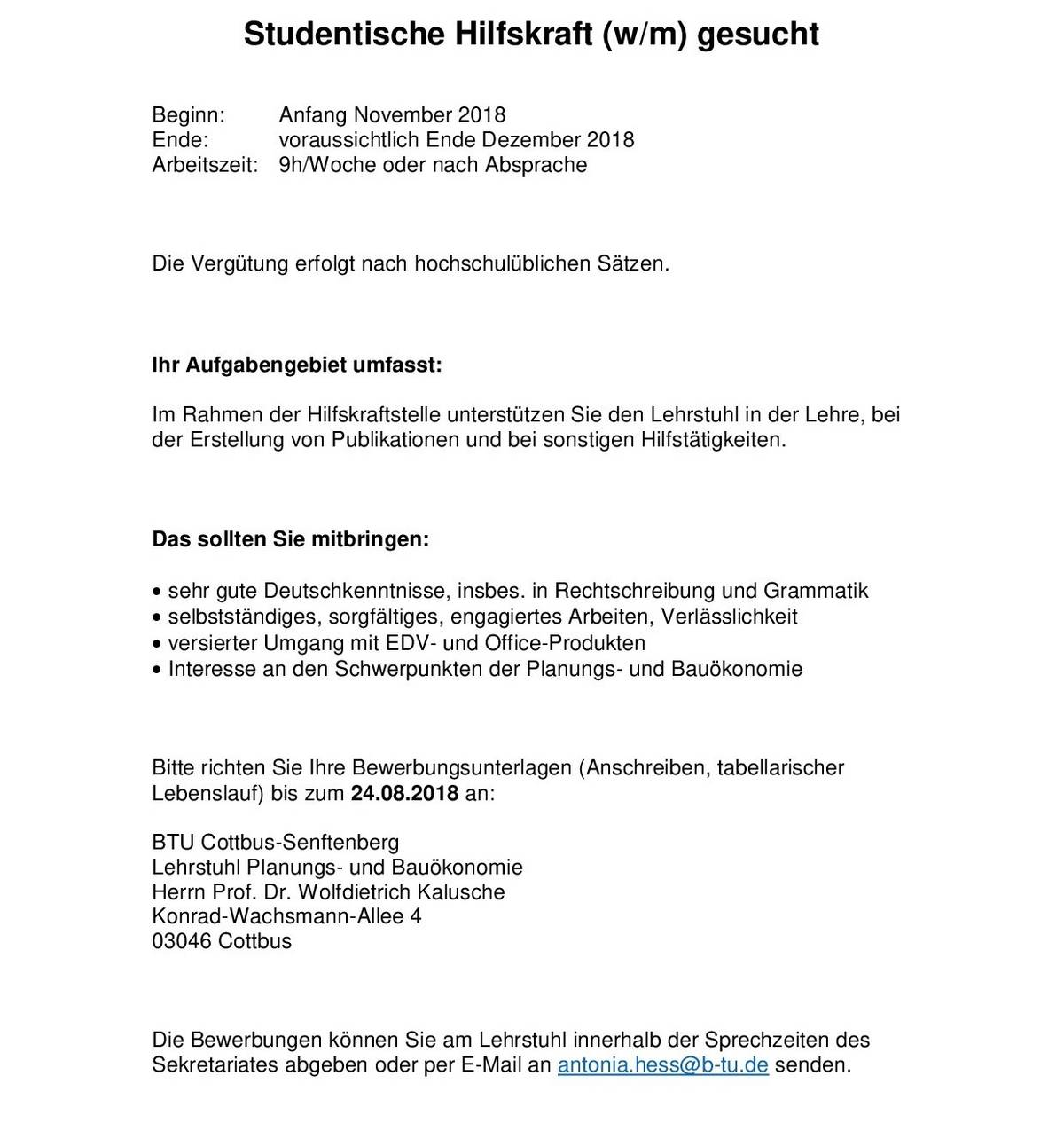 Aktuelles : Fachgebiet Planungs- und Bauökonomie - BTU Cottbus ...