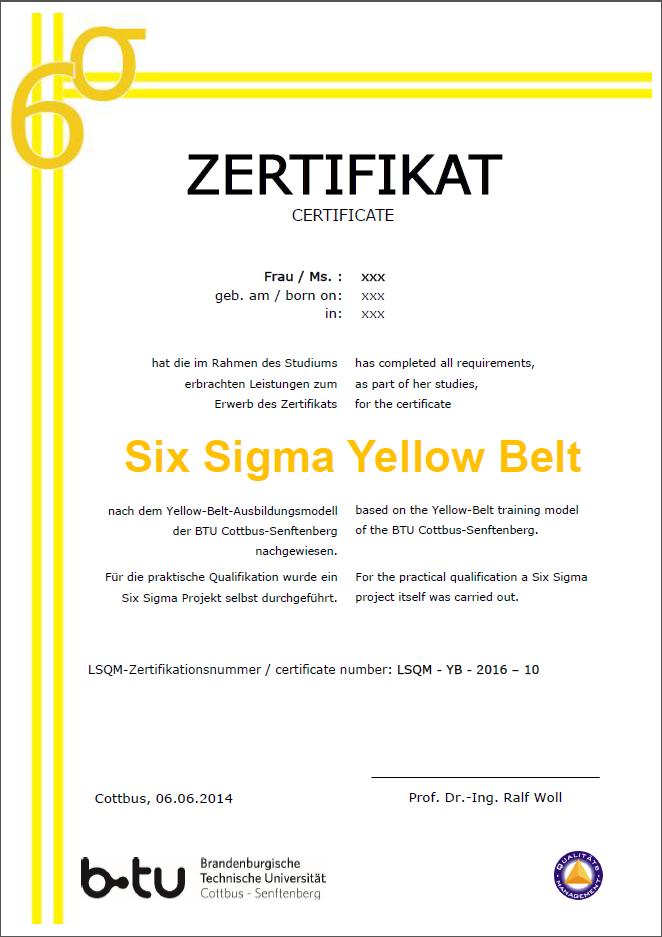 Six Sigma : Lehrstuhl Qualitätsmanagement - BTU Cottbus-Senftenberg