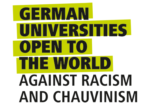 Logo against xenophobia - German Universities Open to the World gainst racism and chauvinism